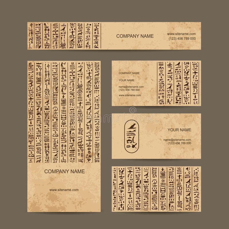 Jeroglíficos de Egipto, tarjetas de visita para su diseño stock de ilustración