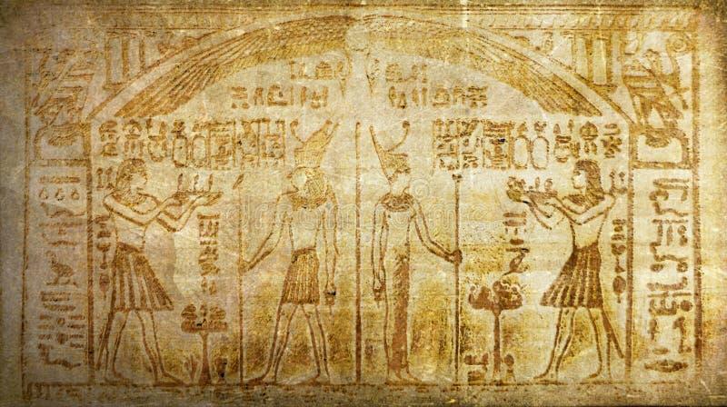 Jeroglíficos egipcios antiguos de la historia del vintage del Grunge fotos de archivo libres de regalías