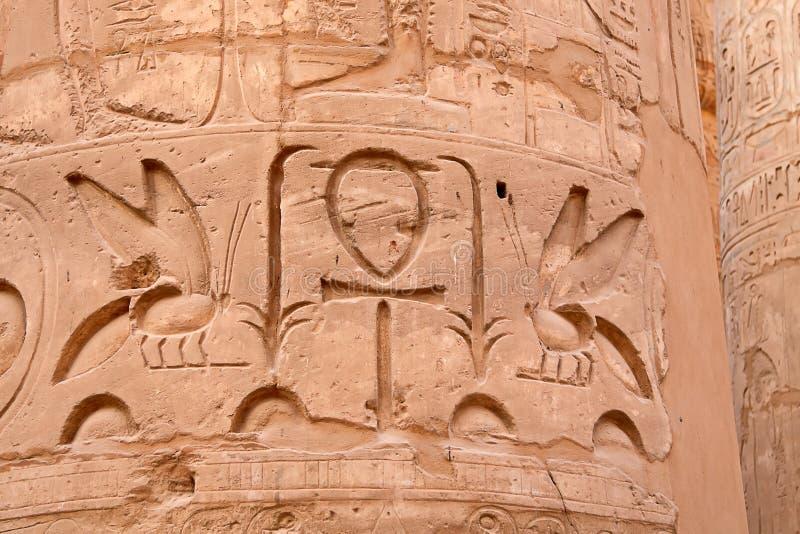 Jeroglíficos en la pared foto de archivo
