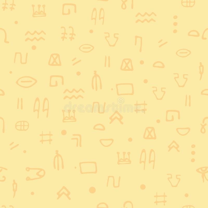 Jeroglíficos inconsútiles del egipcio del modelo Pertenencia étnica Egipto antiguo arqueología e historia libre illustration