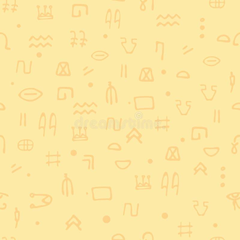 Jeroglíficos inconsútiles del egipcio del modelo Pertenencia étnica Egipto antiguo arqueología e historia ilustración del vector
