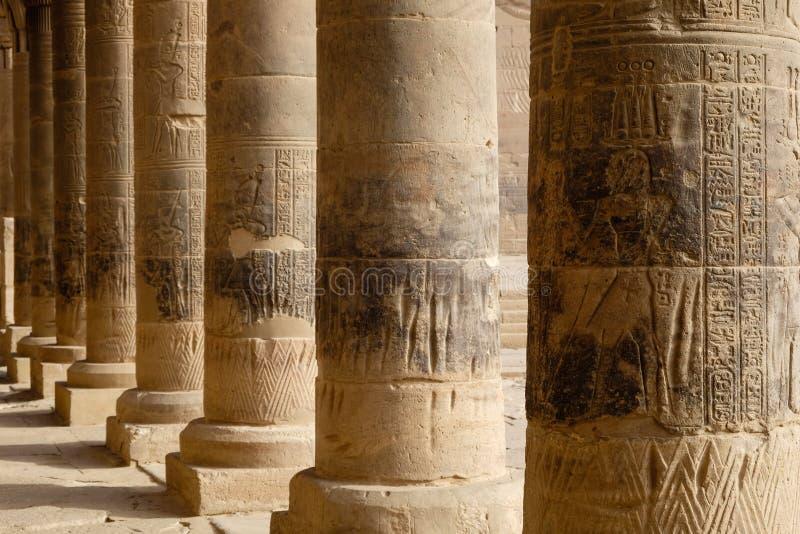 Jeroglíficos tallados en pilares en un templo egipcio fotografía de archivo