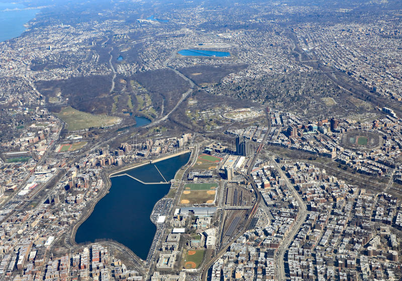 Jerome Park Reservoir in New York City. Aerial view of the Jerome Park Reservoir and park in the Bronx, New York City stock images