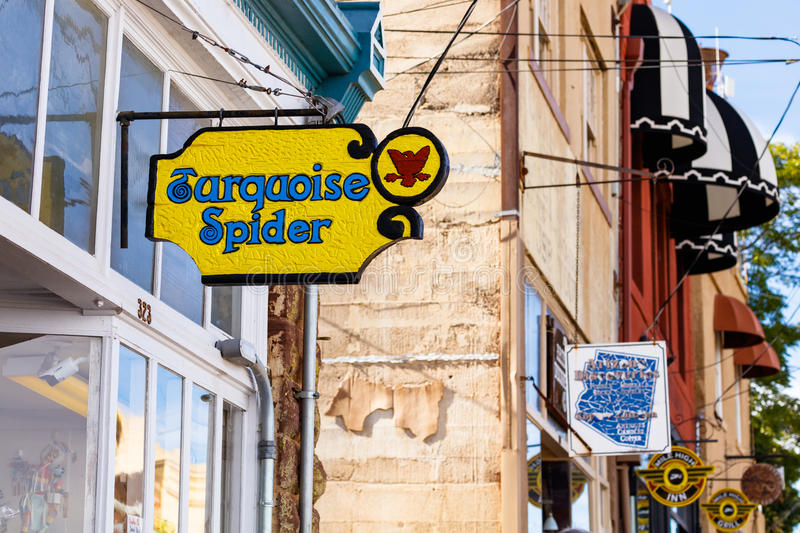 Jerome town signs. Jerome, AZ USA - October 16, 2016: Colorful signs in the downtown area of this trendy small mountain town overlooking the Verde Valley stock photos