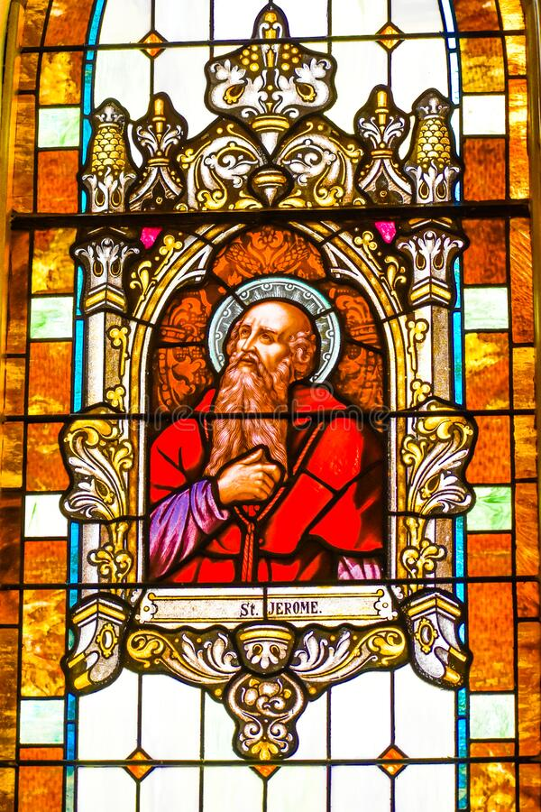 Saint Jerome Stained Glass Window stock photos