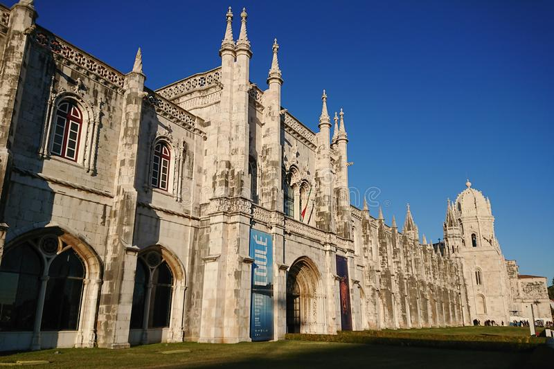 Jeronimos修道院在贝拉母,里斯本,葡萄牙 免版税库存图片