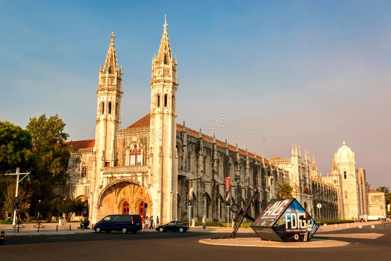 Jeronimos修道院在贝拉母,里斯本,葡萄牙 库存照片