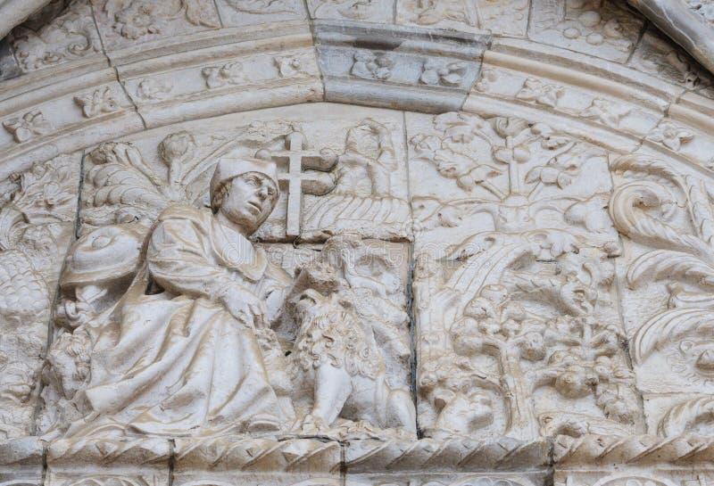 Jeronimos修道院外部细节在贝拉母,里斯本,葡萄牙 Manueline样式 联合国科教文组织世界遗产名录 库存照片