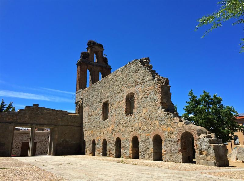 Jeronimos修道院,阿维拉,西班牙废墟  免版税库存图片