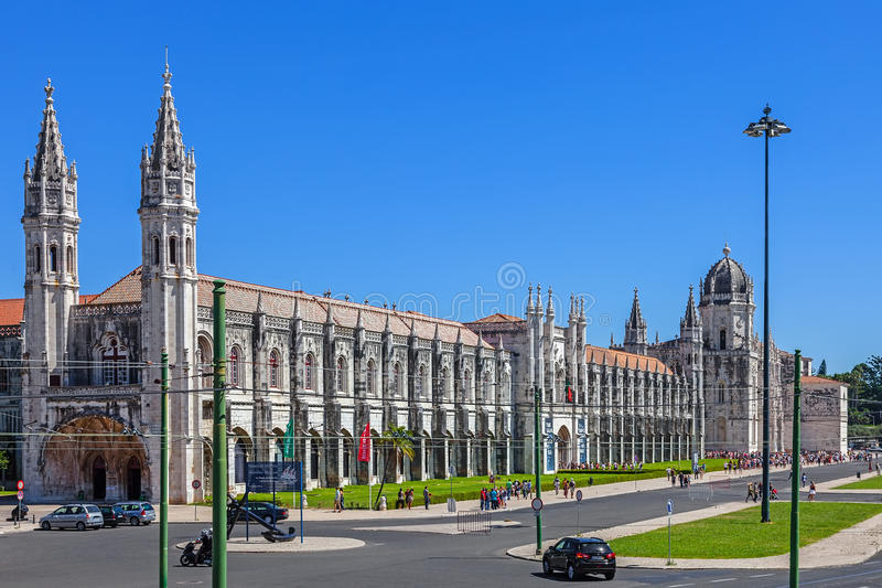 Jeronimos monastery, Lisbon. Lisbon, Portugal. August 24, 2014: The Jeronimos Monastery with the maritime Museum entrance on the left, and the Archeology Museum stock images