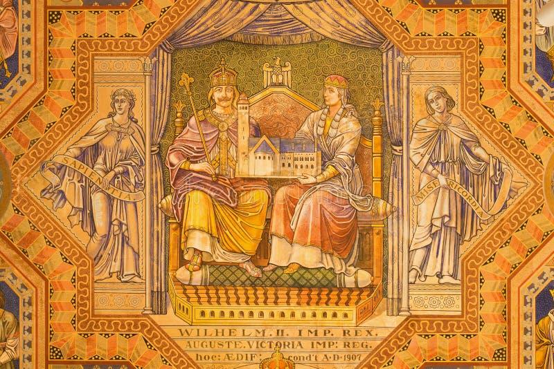 Jerozolima - cesarz Wilhelm II Auguste Wiktoria i królowa Maluje na suficie Ewangelicki Luterański kościół wniebowstąpienie zdjęcia stock