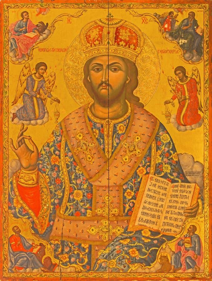 Jerozolima - ikona jezus chrystus nauczyciel od kościół Święty Sepulchre od 17 cent zdjęcie royalty free
