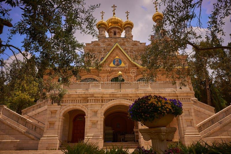 JEROZOLIMA IZRAEL, Kwiecień, - 15, 2017: Kościół Maryjny Magdalene na górze oliwki zdjęcie stock
