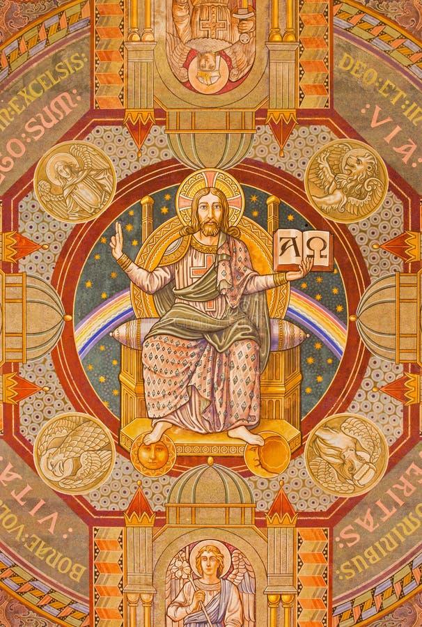 Jerozolima, Jezus - Pantokrator i apostoł Maluje na suficie Ewangelicki Luterański kościół wniebowstąpienie fotografia royalty free