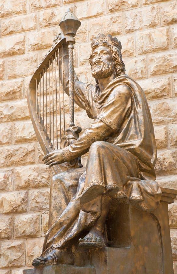 Jerozolima - królewiątka David rzeźba dedykująca izraelita befort królewiątka Davids grobowiec David Palombo 1920, 1966) (- obrazy royalty free