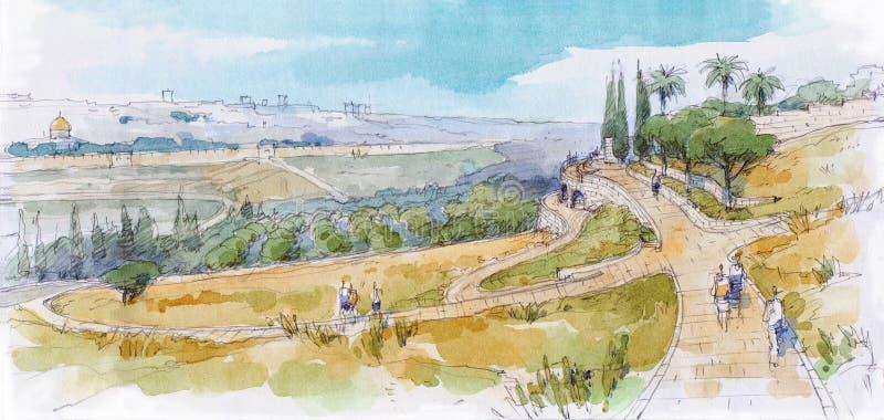 Jerozolima krajobraz ilustracja wektor
