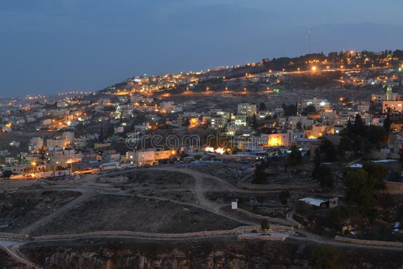 Jerozolima przy półmrokiem, nocy miasta zbocze widok, Izrael zdjęcia stock