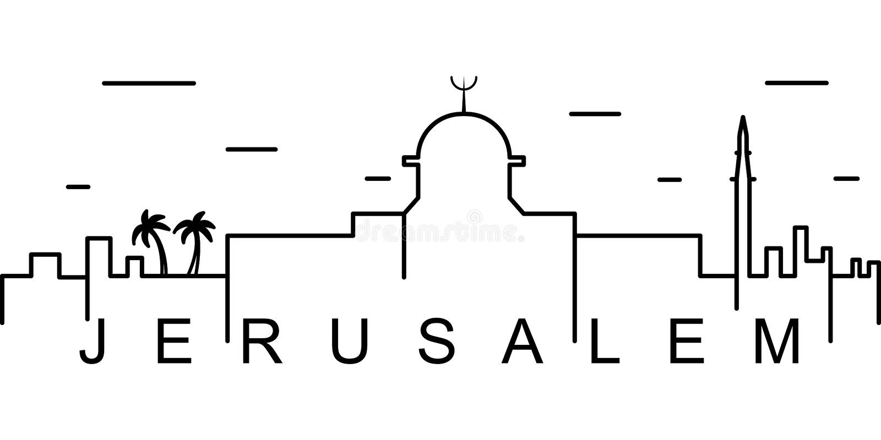 Jerozolimska kontur ikona Może używać dla sieci, logo, mobilny app, UI, UX ilustracja wektor