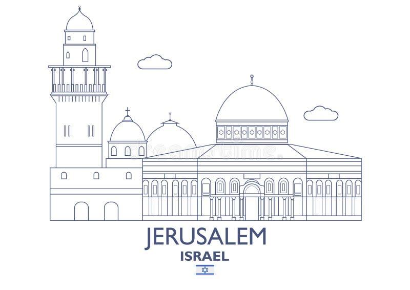 Jerozolimska miasto linia horyzontu, Izrael ilustracja wektor