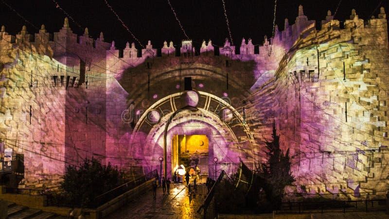 Jerozolimski festiwal światło - Damaszek brama fotografia stock
