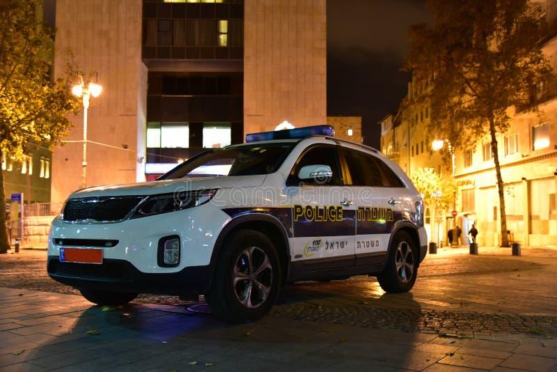 JEROZOLIMSKI IZRAEL policja jest cywilnym siłą, swój obowiązki zawiera przestępstwo bój, ruch drogowy kontrola, utrzymuje społecz obraz stock