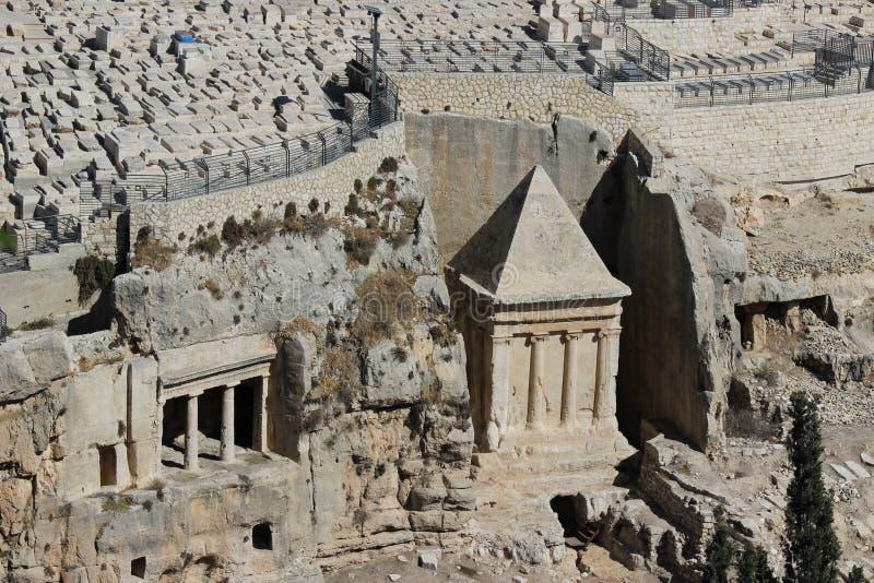 Jerozolimski widok oilseed halny grobowiec Zechariah obraz royalty free
