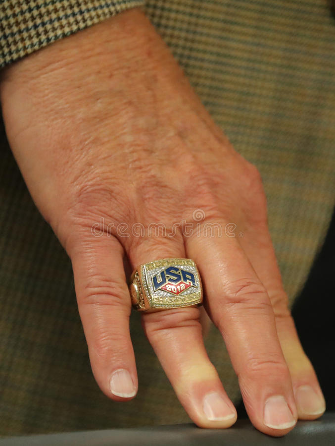 Jerry Colangelo director of USA Basketball wears USA 2012 Olympic Champions ring Rio 2016 Olympic Games stock image