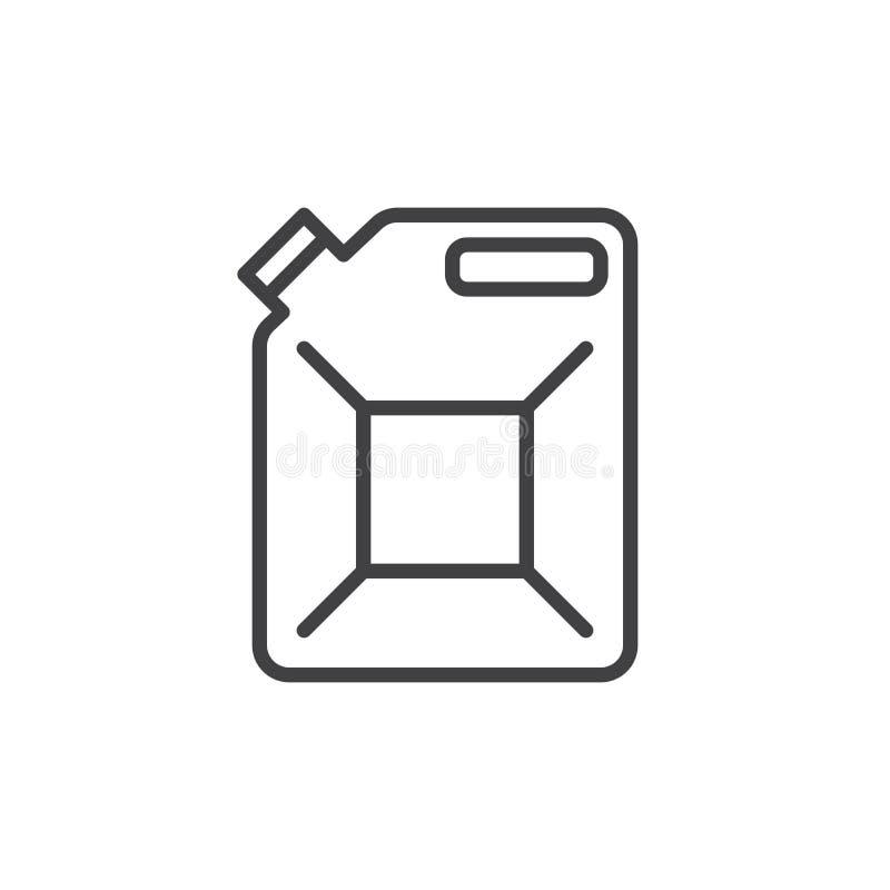 Jerrycan, kanister kreskowa ikona, konturu wektoru znak, liniowy stylowy piktogram odizolowywający na bielu royalty ilustracja