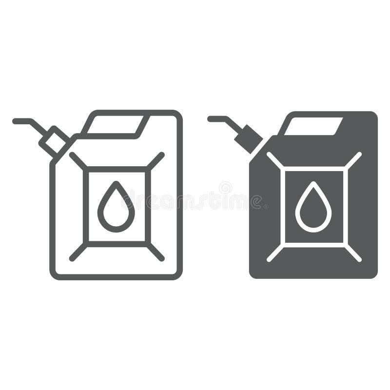 Jerrycan linia, glif ikona, kanister i zbiornik, paliwowego zbiornika znak, wektorowe grafika, liniowy wzór na bielu ilustracji