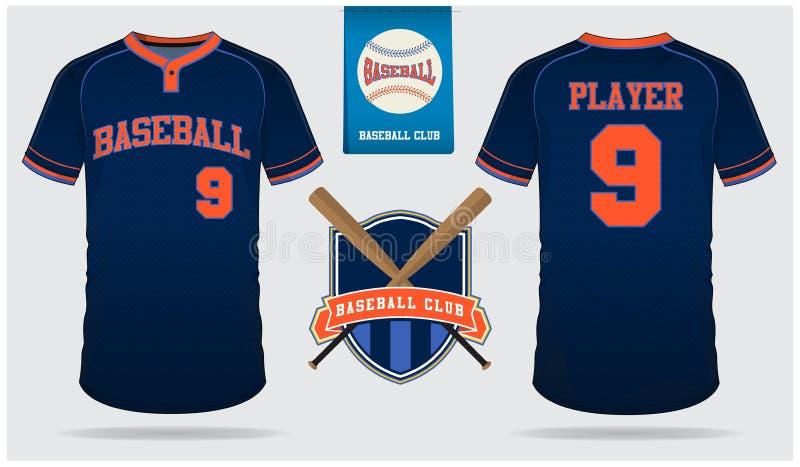 Jersey бейсбола, форма спорта, спорт футболки raglan, краткость, шаблон носка Насмешка футболки бейсбола вверх Плоский логотип бе иллюстрация штока