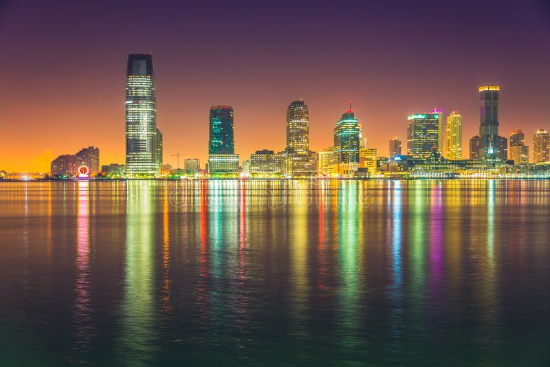 Jersey City night, Hudson River royalty free stock images