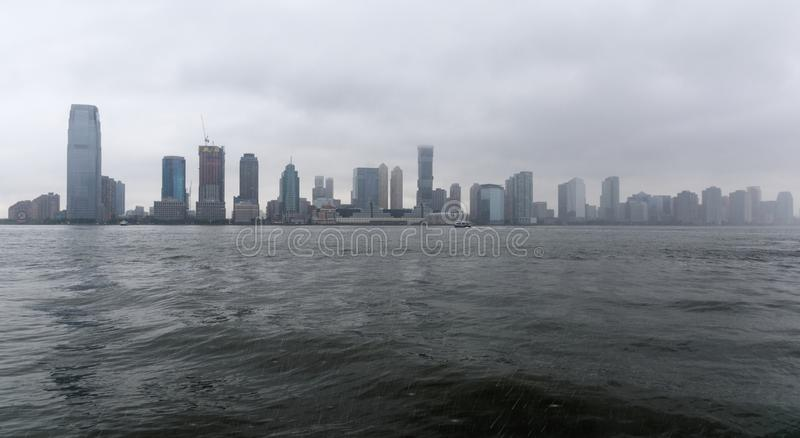 Jersey City in the rain stock photography