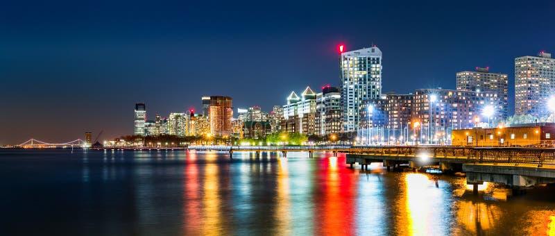 Jersey City skyline panorama by night stock images
