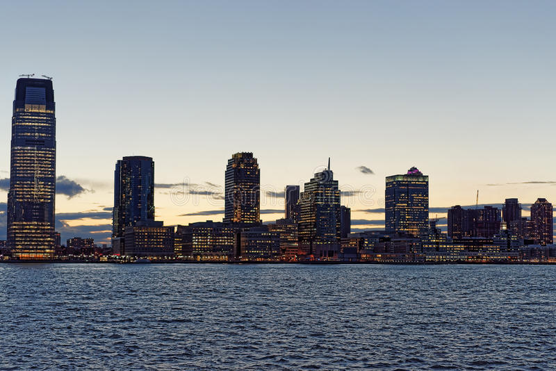 Jersey City skyline with skyscrapers at night royalty free stock photo