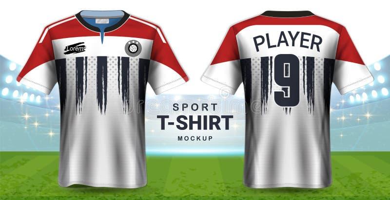 Jersey de fútbol y plantilla de la maqueta de la camiseta de la ropa de deportes, opinión delantera y trasera del diseño gráfico  stock de ilustración