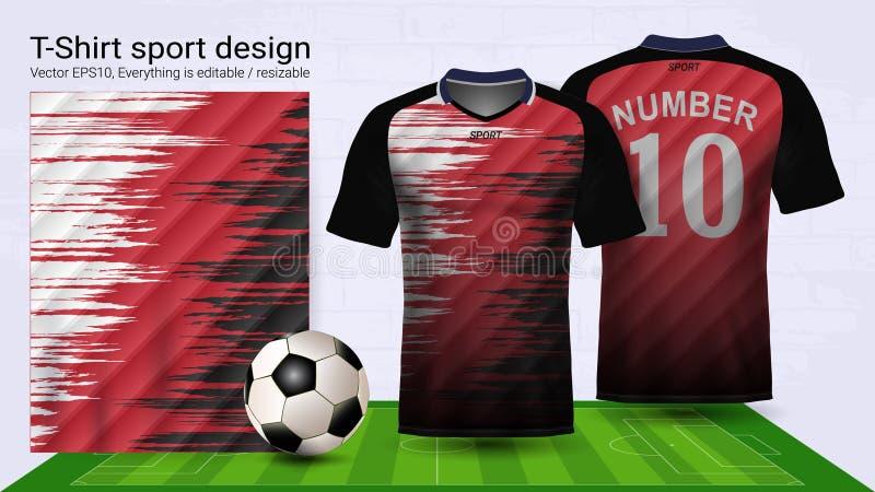 Jersey de fútbol y plantilla de la maqueta del deporte de la camiseta, diseño gráfico para el equipo del fútbol o uniformes del a ilustración del vector