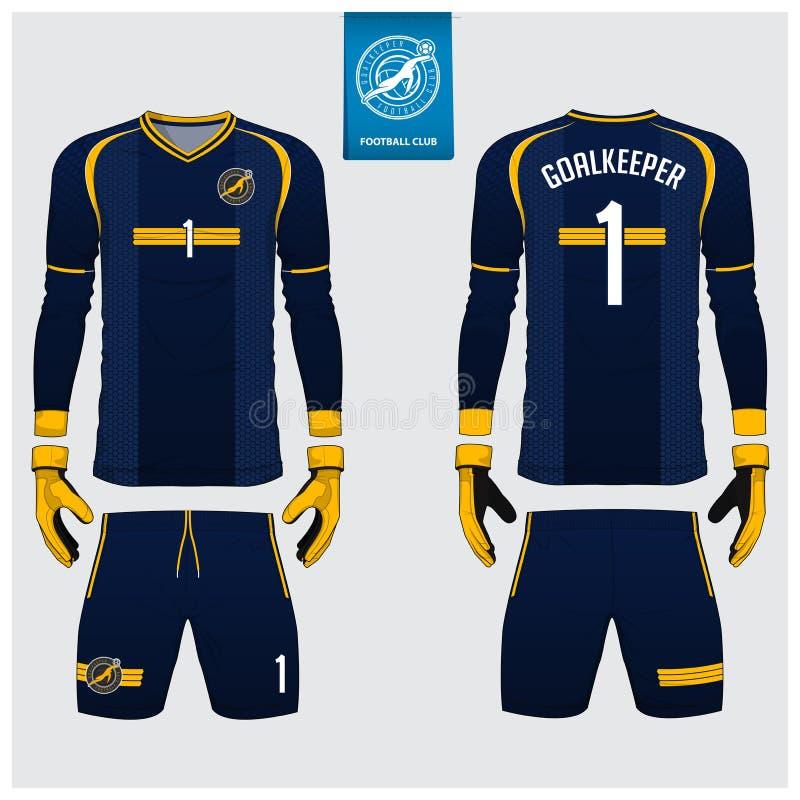 Jersey del portiere o corredo blu di calcio, jersey lungo della manica, progettazione del modello del guanto del portiere Uniform illustrazione vettoriale