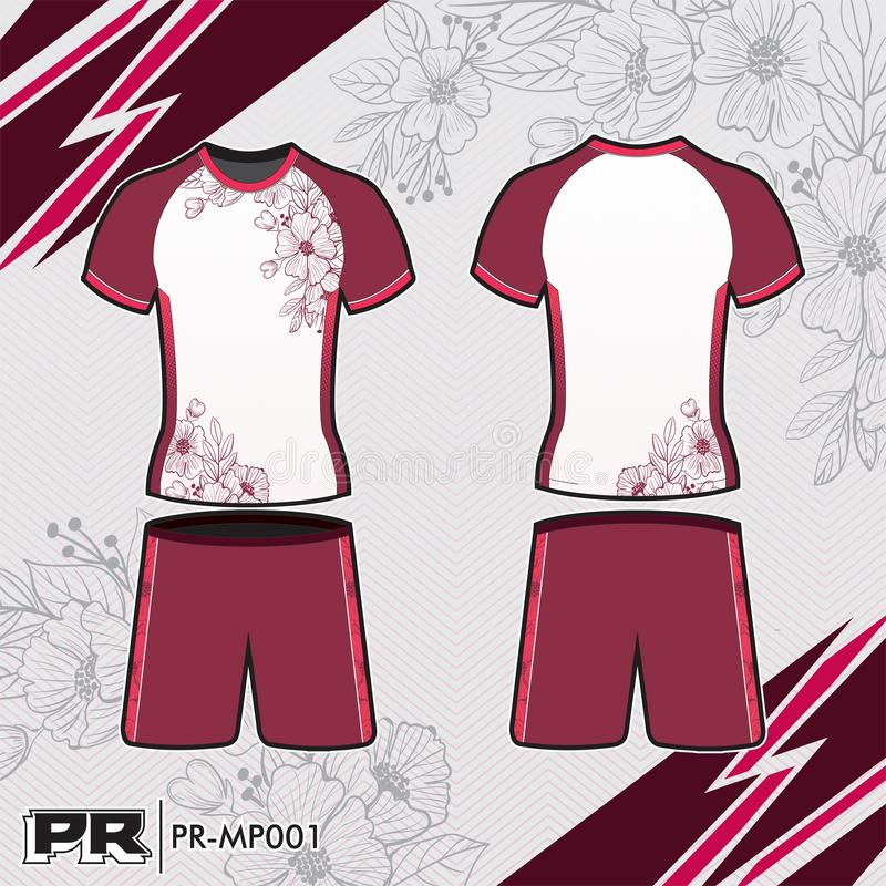 JERSEY DESIGN 003 WHITE AND MAGENTA stock image