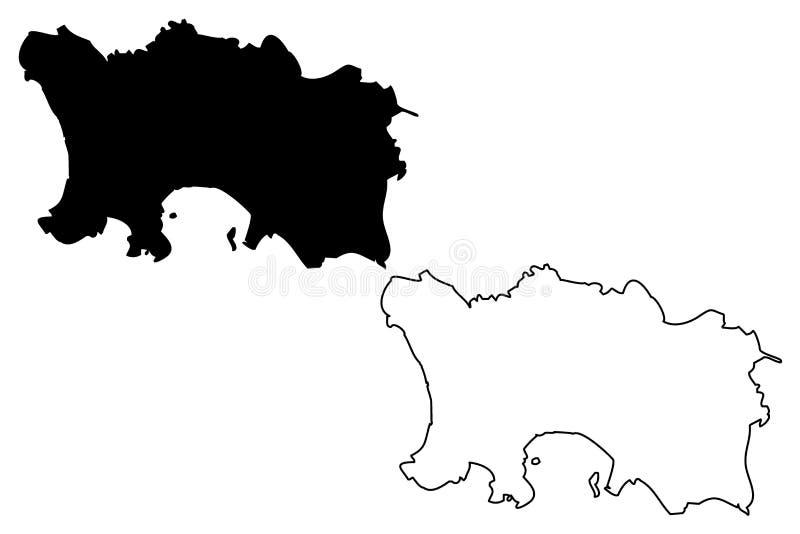 Jersey island map vector. Illustration, scribble sketch Jersey vector illustration
