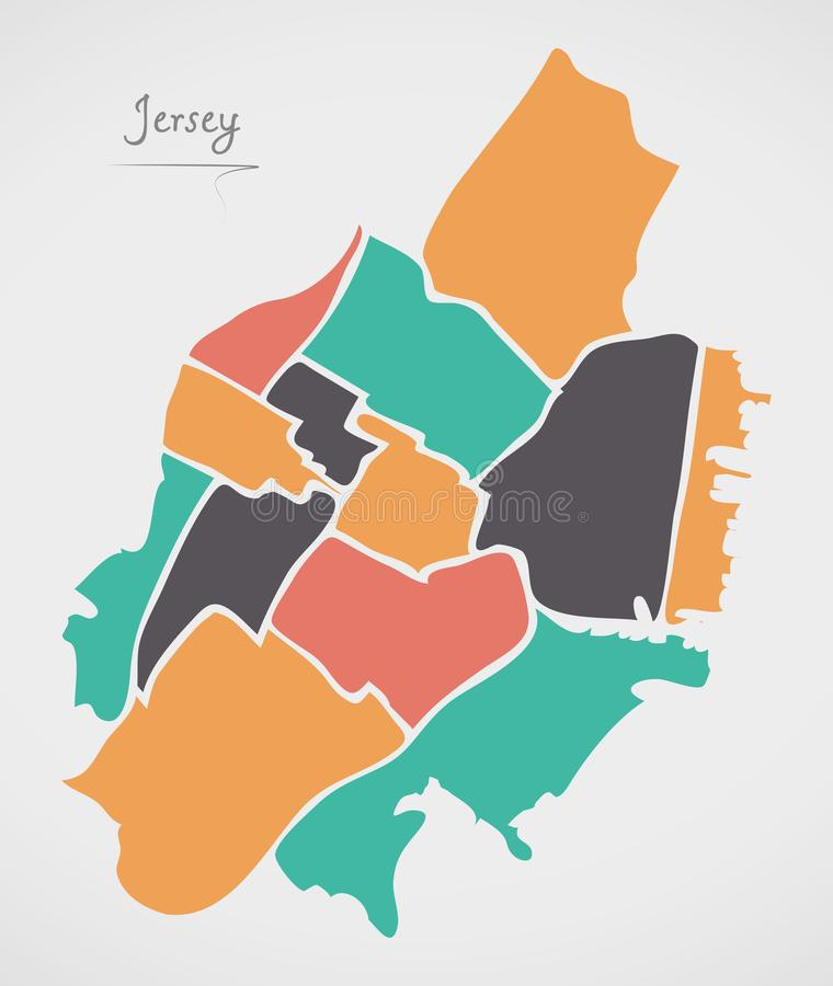Jersey New Jersey Map with neighborhoods and modern round shapes. Illustration royalty free illustration