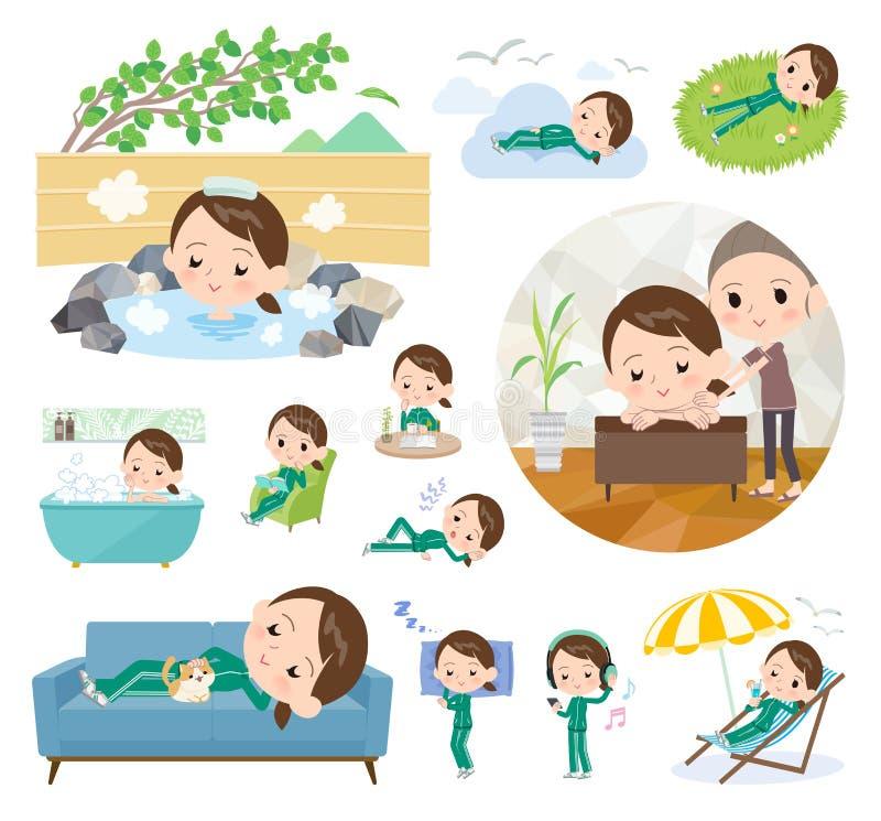 Jersey_relax зеленого цвета девушки школы иллюстрация вектора