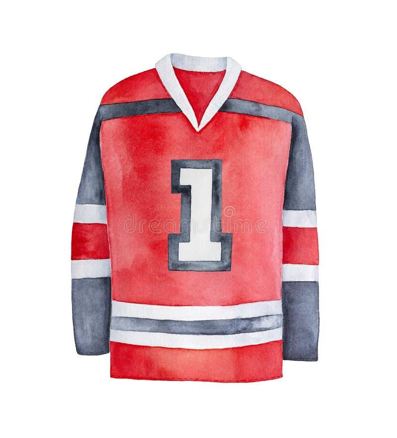 Jersey rojo, blanco y negro brillante del hockey sobre hielo con el número uno foto de archivo