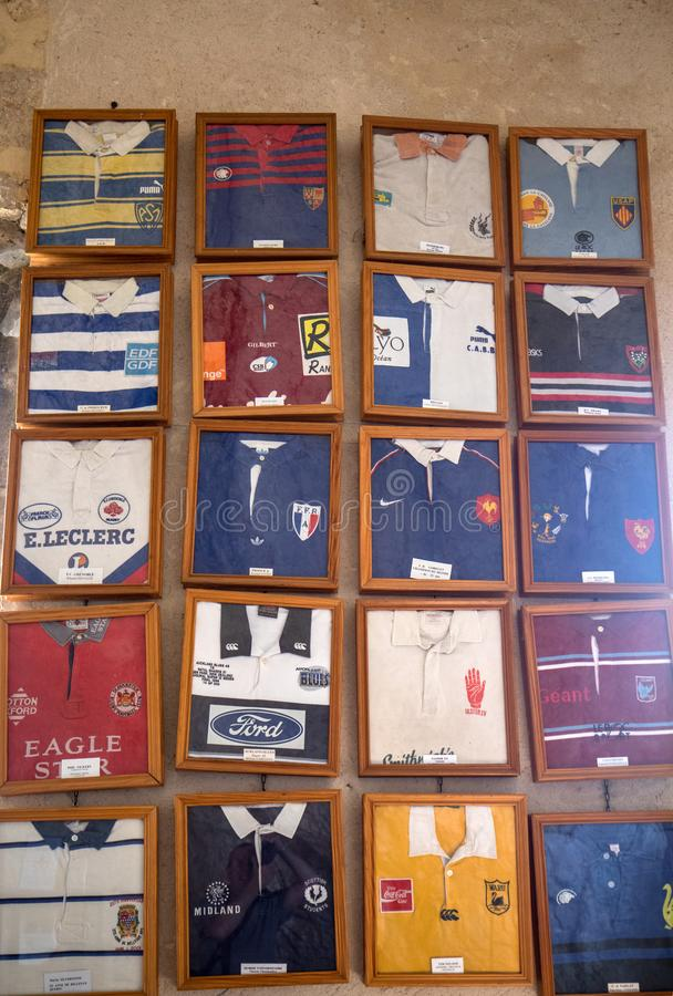 Jerseys from famous rugby players  have been offered in ex voto in the chapel of Notre Dame de l`Ovalie, dedicated to rugby playe royalty free stock photo