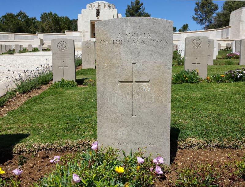 Jerusalém do cemitério da Primeira Guerra Mundial fotografia de stock