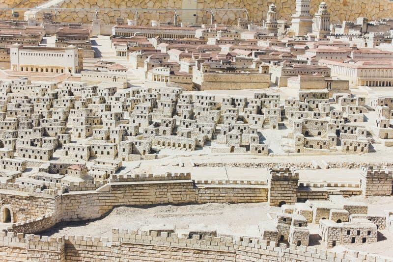 JERUSALÉM, ISRAEL - 13 DE OUTUBRO DE 2018: O modelo do Jerusalém no segundo período do templo imagem de stock royalty free