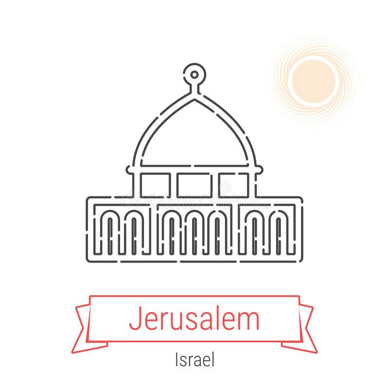 Jerusalém, Israel Vetora Line Icon ilustração royalty free