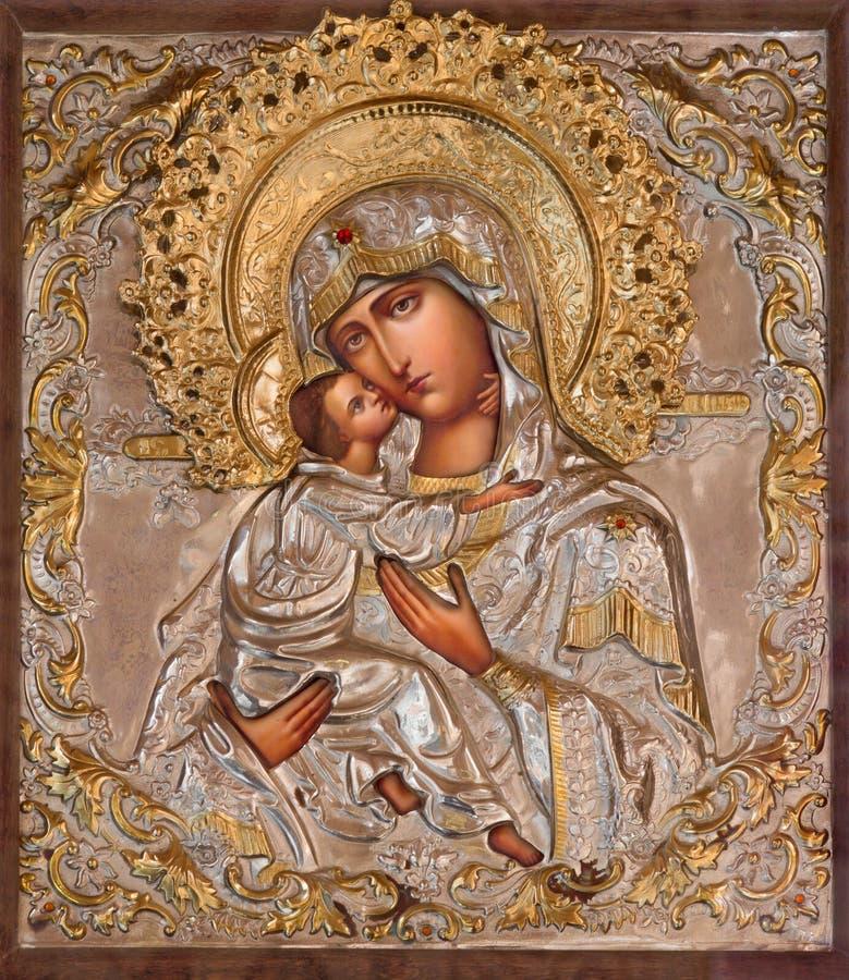 Jerusalém - o ícone de Madonna na igreja ortodoxa do russo de Mary santamente de Magdalene imagens de stock