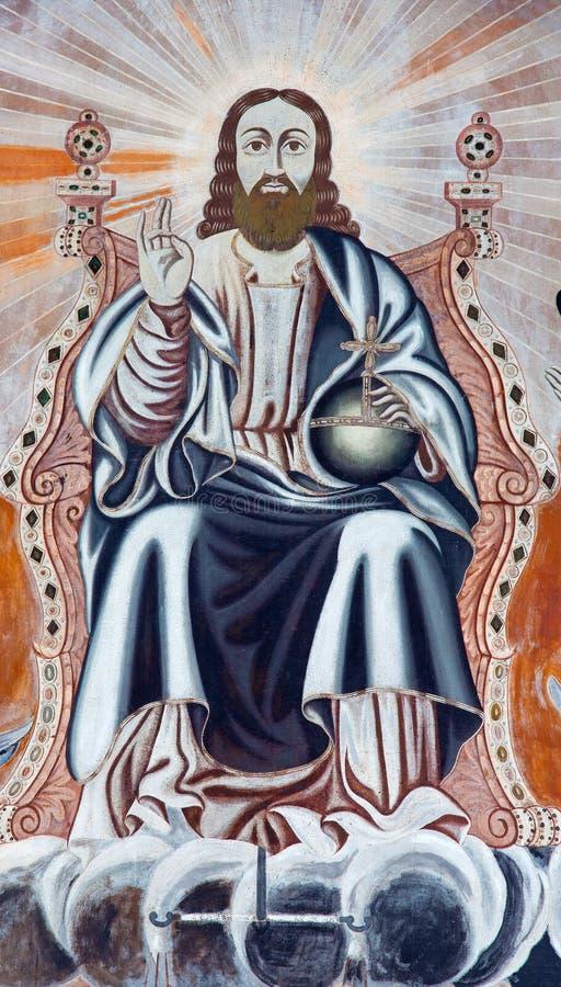 Jerusalém - o fresco de Jesus Christ o Pantokrator na entrada à catedral do St James Armenian de um fim de 19 centavo imagem de stock