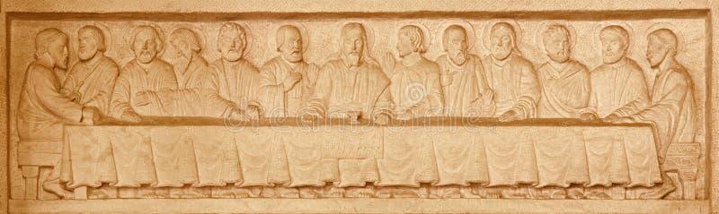 Jerusalém - o relevo da pedra da última ceia na igreja luterana evangélica da ascensão foto de stock royalty free