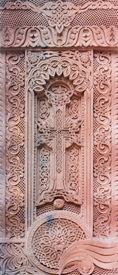 Jerusalém - o relevo transversal armênio no vestíbulo da catedral do St James Armenian de um fim de 19 centavo fotos de stock
